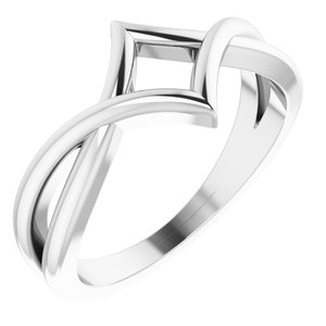 14K White Geometric Negative Space Ring