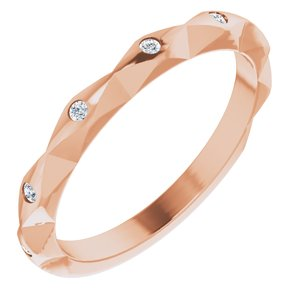 14K Rose .08 CTW Diamond Stackable Anniversary Band