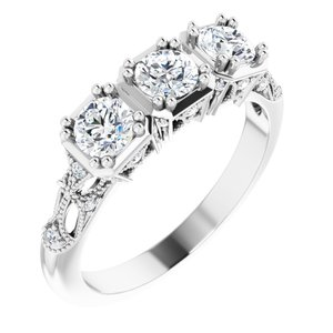 14K White 9/10 CTW Diamond Vintage-Inspired Three-Stone Anniversary Band