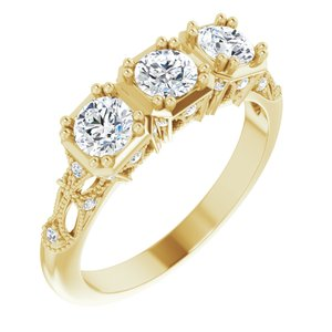 14K Yellow 9/10 CTW Diamond Vintage-Inspired Three-Stone Anniversary Band