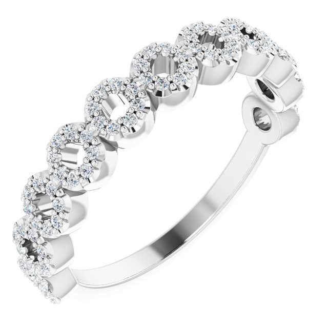 14K White 1/4 CTW Diamond Circle Ring