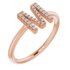 14K Rose .07 CTW Diamond Initial M Ring