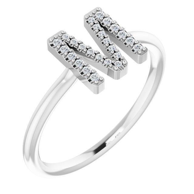 14K White .07 CTW Diamond Initial M Ring