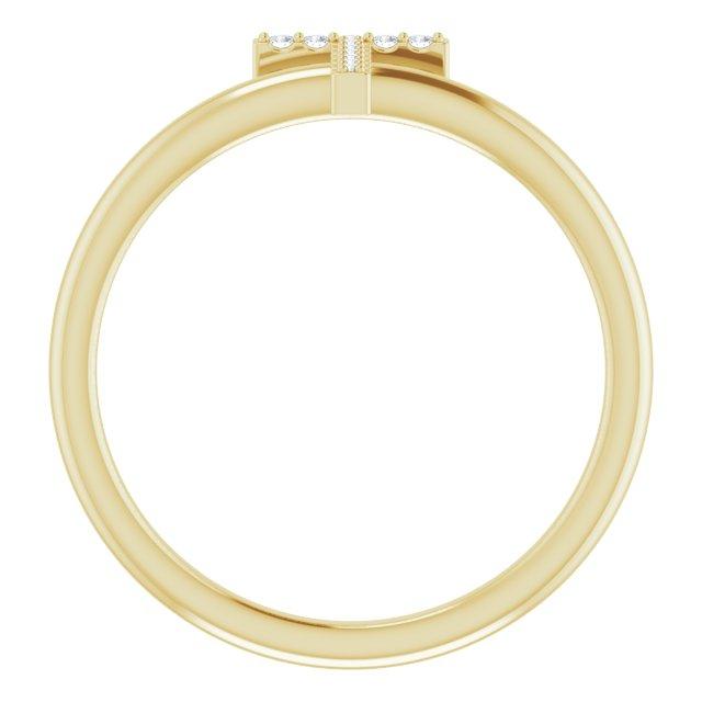 14K Yellow .06 CTW Diamond Initial T Ring