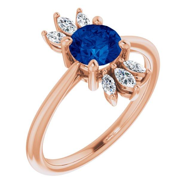 14K Rose Chatham® Lab-Created Blue Sapphire & 1/4 CTW Diamond Ring