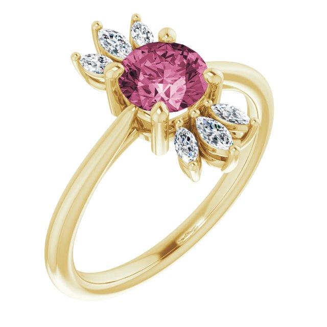 14K Yellow Pink Tourmaline & 1/4 CTW Diamond Ring