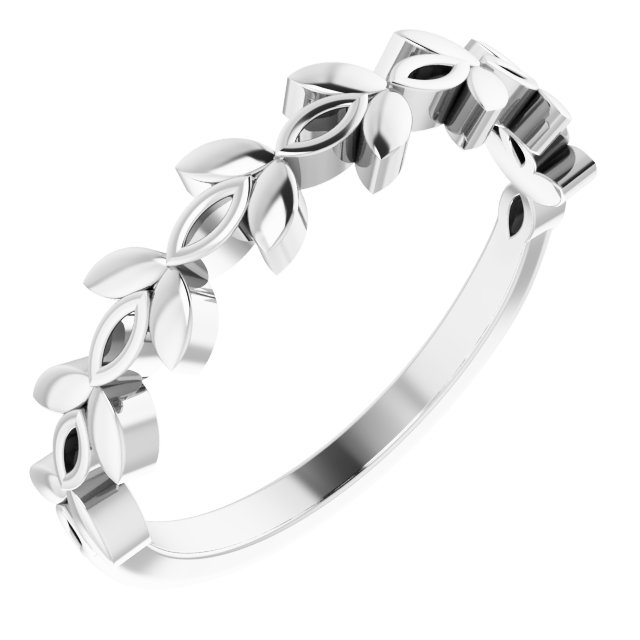 14K White Stackable Marquise Design Ring