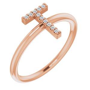 14K Rose .04 CTW Diamond Initial T Ring