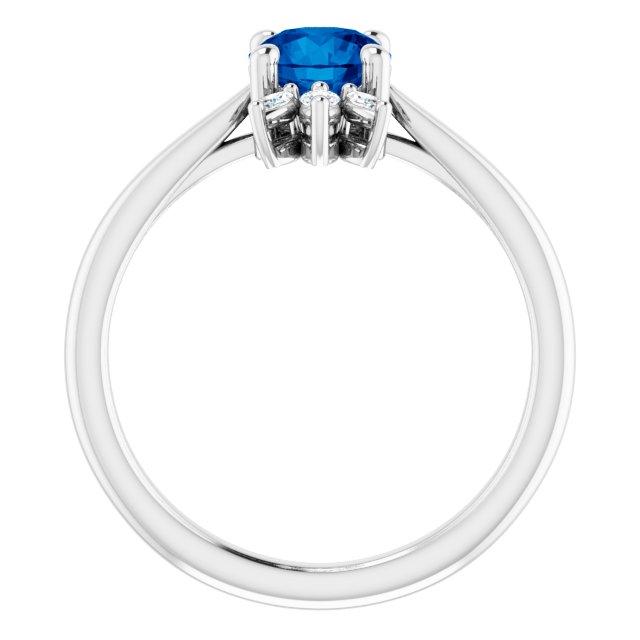 14K White Chatham® Lab-Created Blue Sapphire & 1/4 CTW Diamond Ring