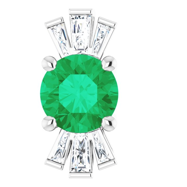 "14K White Chatham® Lab-Created Emerald & 1/6 CTW Diamond 16-18"" Necklace"
