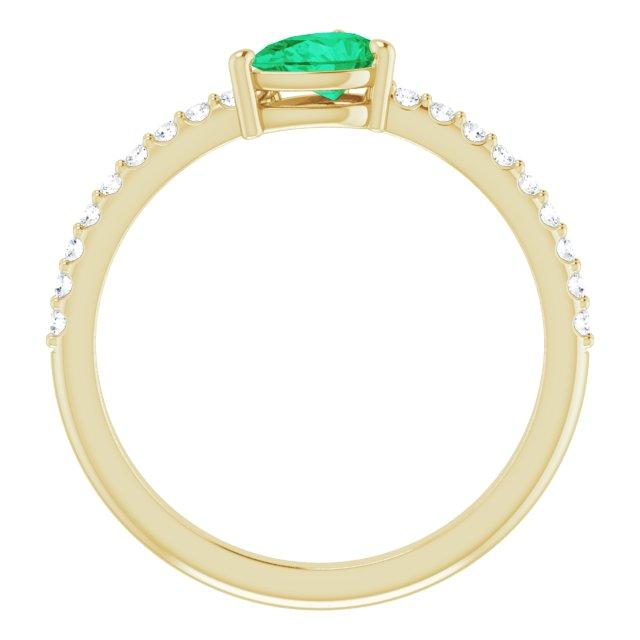 14K Yellow Emerald & 1/6 CTW Diamond Ring