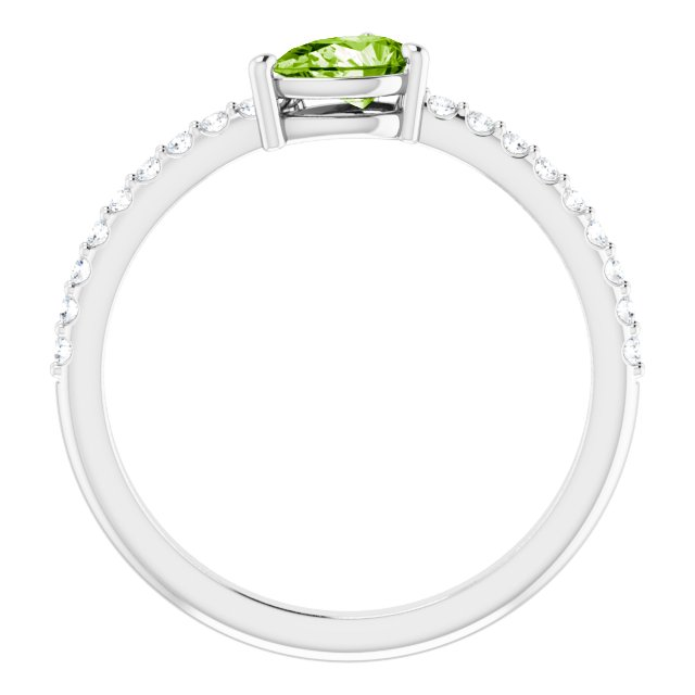 14K White Peridot & 1/6 CTW Diamond Stackable Ring