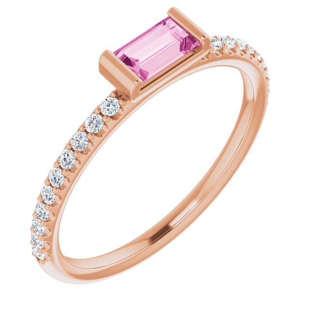 14K Rose Pink Sapphire & 1/6 CTW Diamond Stackable Ring