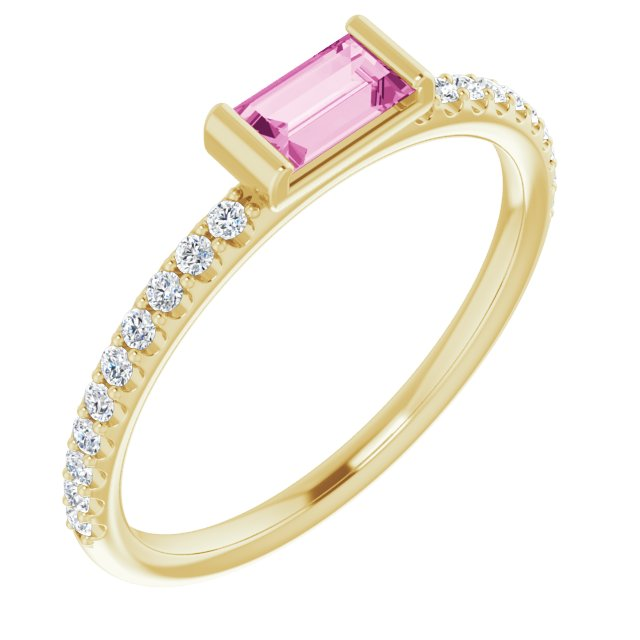 14K Yellow Pink Sapphire & 1/6 CTW Diamond Stackable Ring
