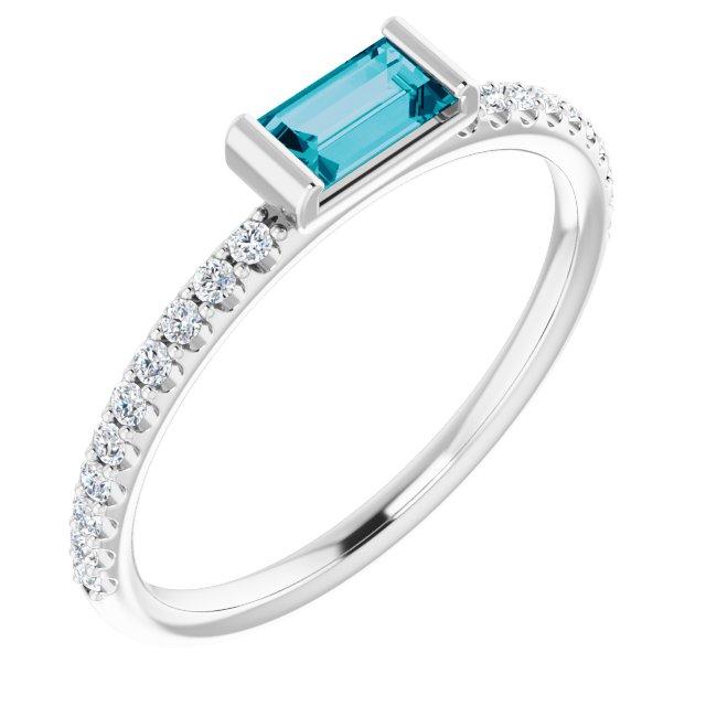14K White London Blue Topaz & 1/6 CTW Diamond Stackable Ring