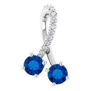 14K White Chatham® Created Blue Sapphire & .05 CTW Diamond Pendant