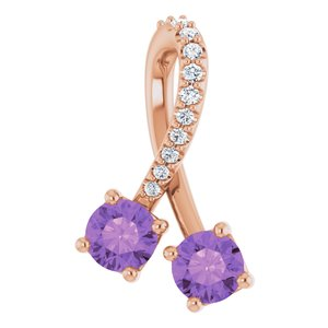 14K Rose Amethyst & .05 CTW Diamond Pendant
