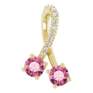 14K Yellow Pink Tourmaline & .05 CTW Diamond Pendant