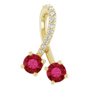 14K Yellow Chatham® Created Ruby & .05 CTW Diamond Pendant