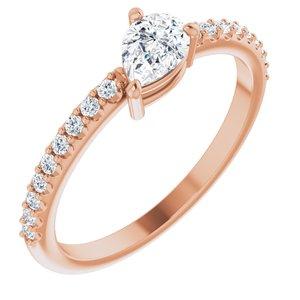 14K Rose Sapphire & 1/6 CTW Diamond Ring