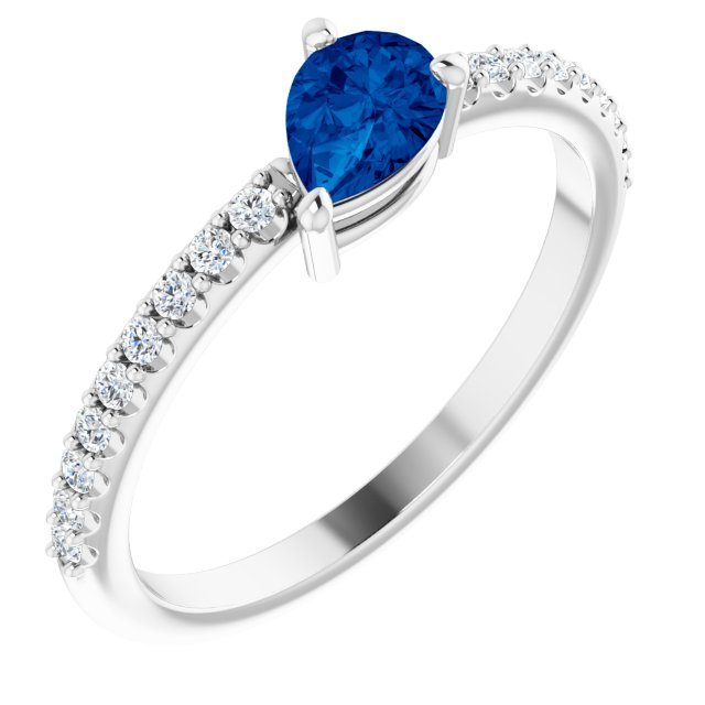 14K White Chatham® Created  Blue Sapphire & 1/6 CTW Diamond Ring