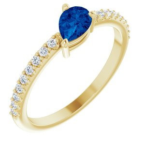 14K Yellow Lab-Grown Blue Sapphire & 1/6 CTW Diamond Ring