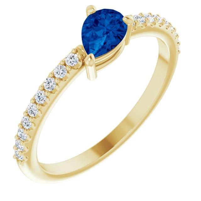 14K Yellow Lab-Grown Blue Sapphire & 1/6 CTW Diamond Ring