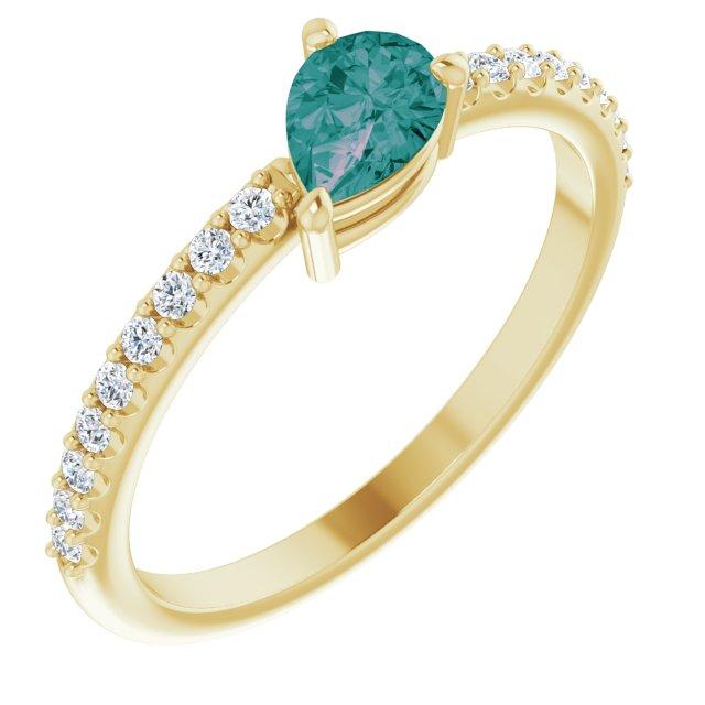 14K Yellow Lab-Grown Alexandrite & 1/6 CTW Diamond Ring