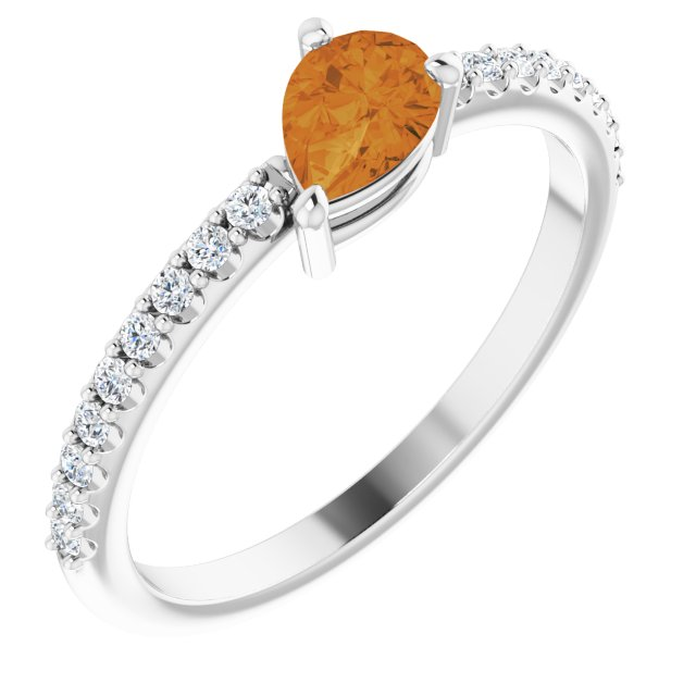 14K White Citrine & 1/6 CTW Diamond Ring