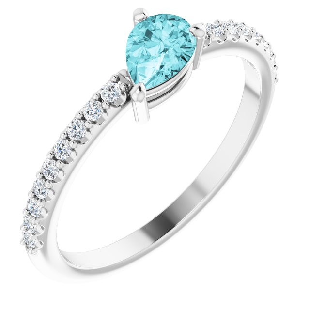 14K White Blue Zircon & 1/6 CTW Diamond Ring