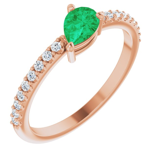 14K Rose Chatham® Created Emerald & 1/6 CTW Diamond Ring