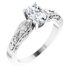 Floral-Inspired Solitaire Engagement Ring or Band