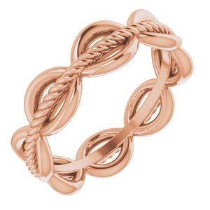 14K Rose Rope Design Band Size 5