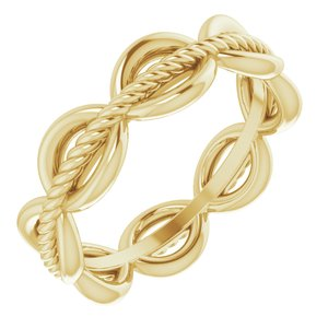14K Yellow Rope Design Band Size 5