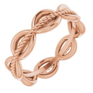 14K Rose Rope Design Band Size 6