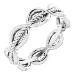 14K White Rope Design Band Size 6