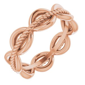 14K Rose Rope Design Band Size 4