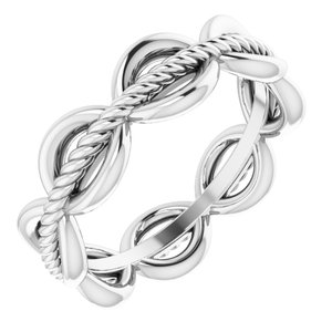 14K White Rope Design Band Size 4