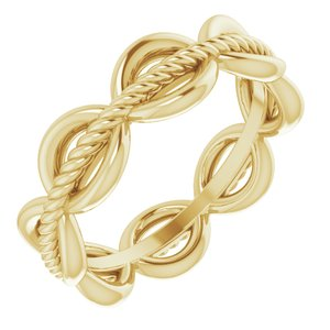 14K Yellow Rope Design Band Size 4