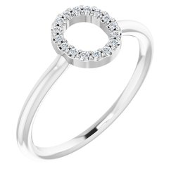 Accented Stackable Initial Ring