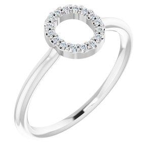 14K White .06 CTW Diamond Initial O Ring