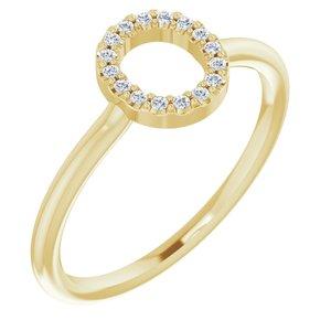 14K Yellow .08 CTW Diamond Initial O Ring