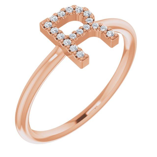 14K Rose .08 CTW Diamond Initial R Ring
