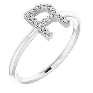 14K White .06 CTW Diamond Initial R Ring