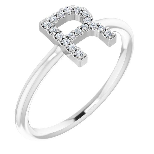 14K White .06 CTW Diamond Initial R Ring