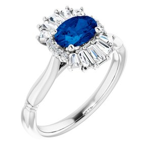 14K White Chatham® Lab-Created Blue Sapphire & 1/4 CTW Diamond Ring