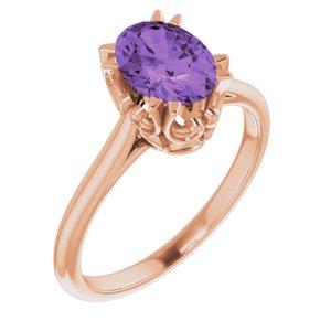 14K Rose Amethyst Ring