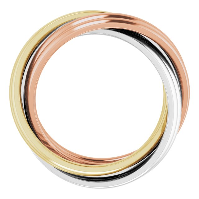 14K Tri-Color 6-Band Rolling Ring Size 5