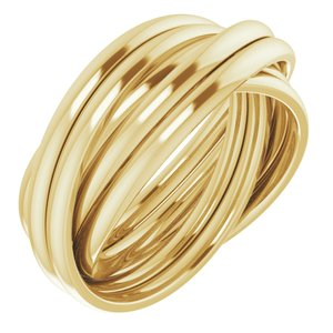 14K Yellow 6-Band Rolling Ring Size 6.5