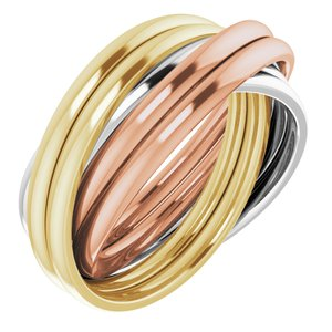 14K Tri-Color 6-Band Rolling Ring Size 7.5